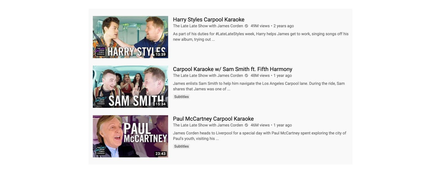 YouTube James Corden's carpool karaoke thumbnails