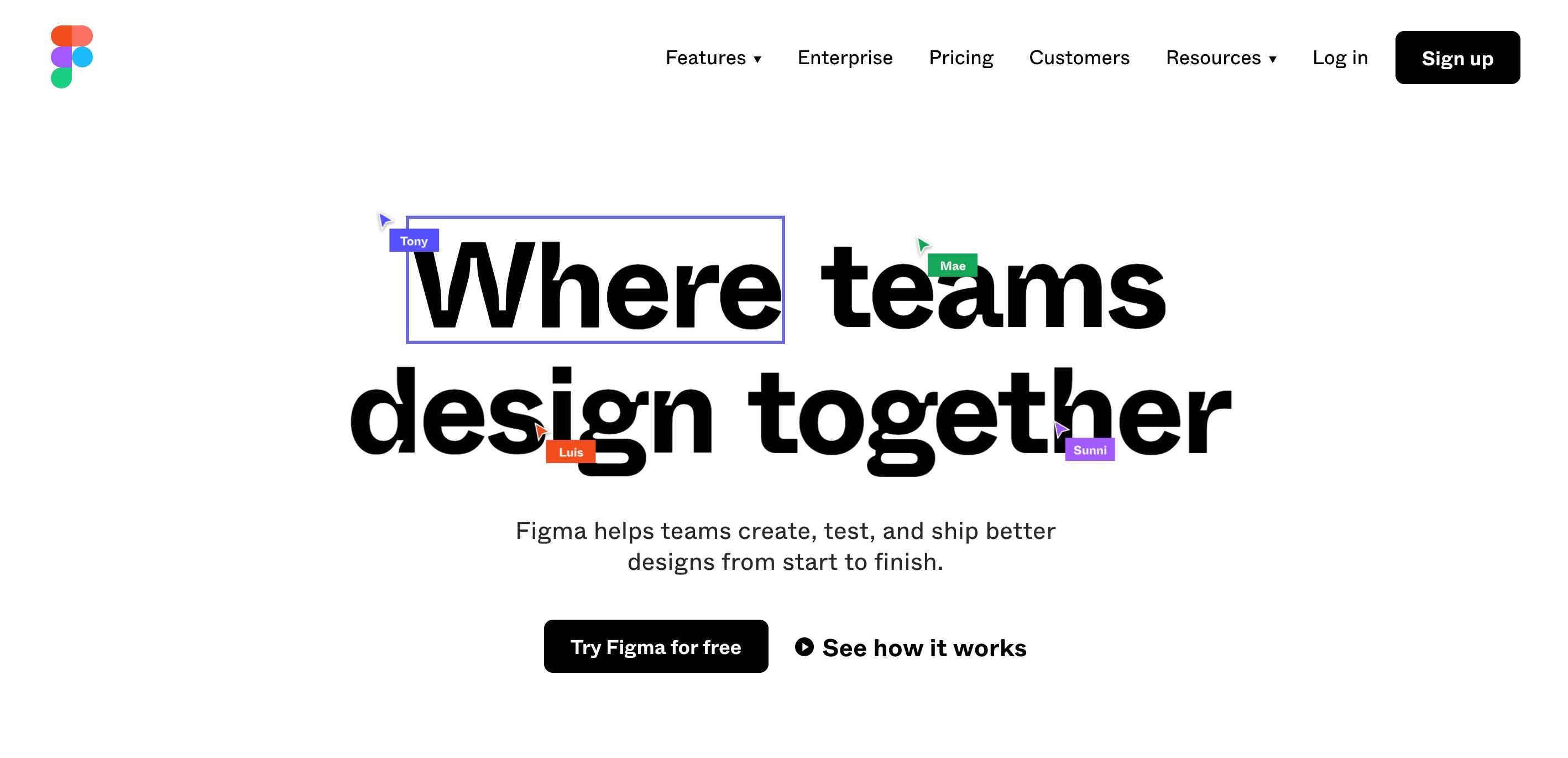 Screenshot of figma.io homepage