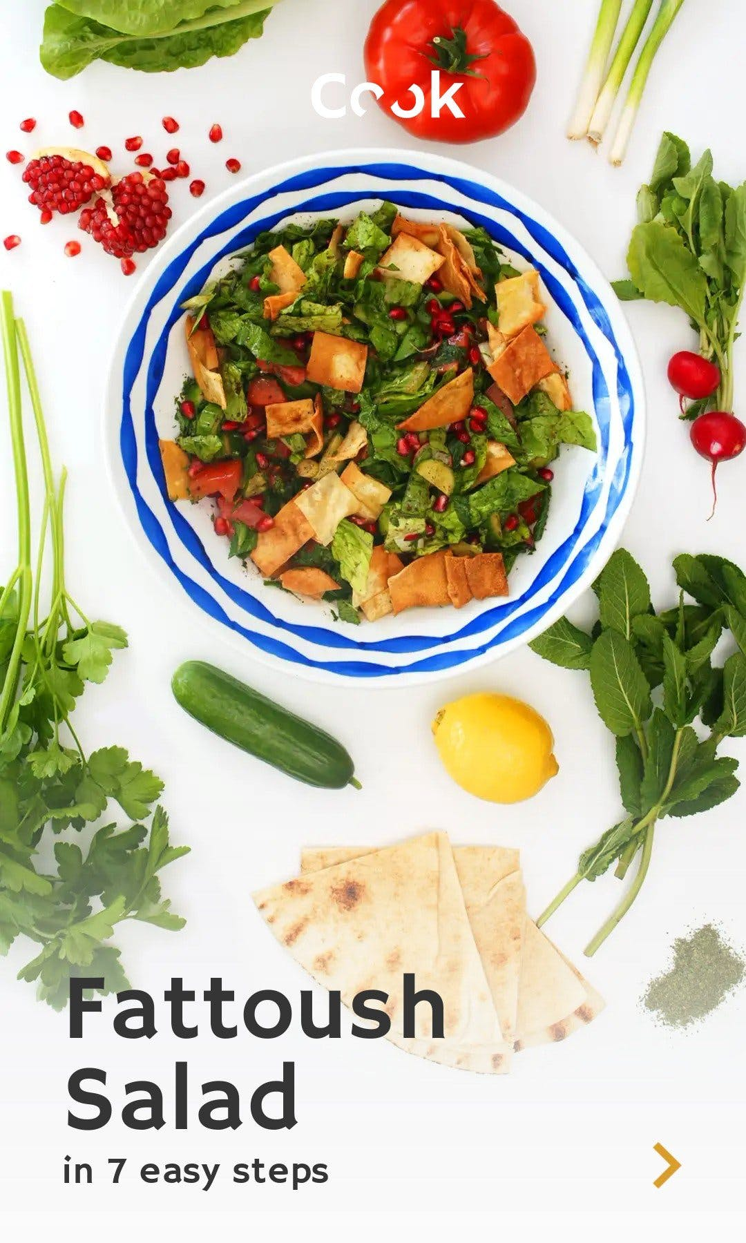 Cover of a tappable web Story explaining how to make a fattoush salad