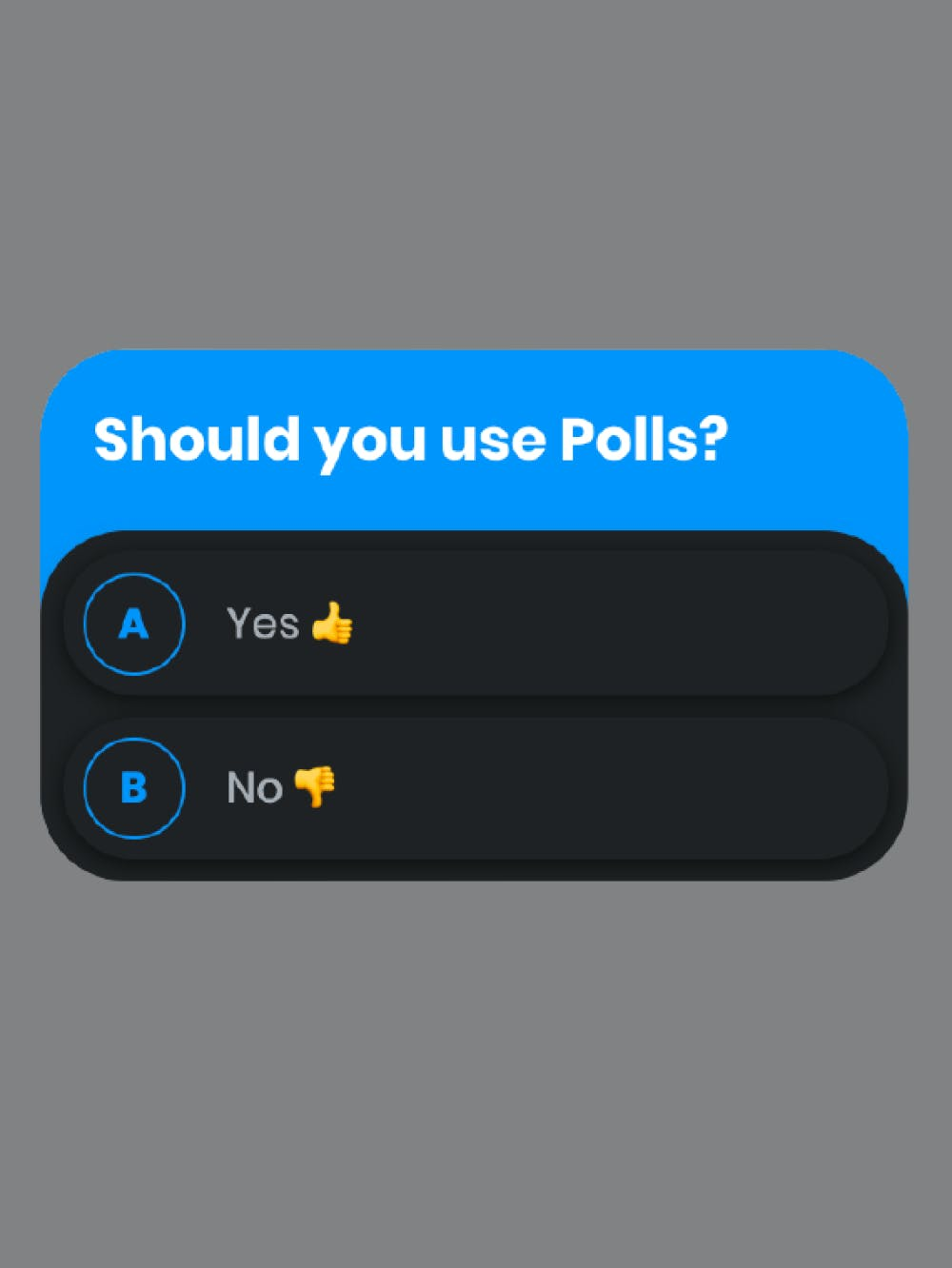 Cover page for polls & quizzes