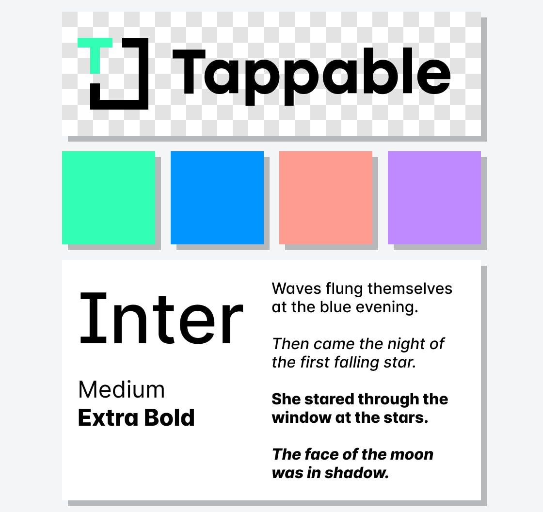 A collage of Tappable brand assets and colors conveying the ease of use of the Tappable tool