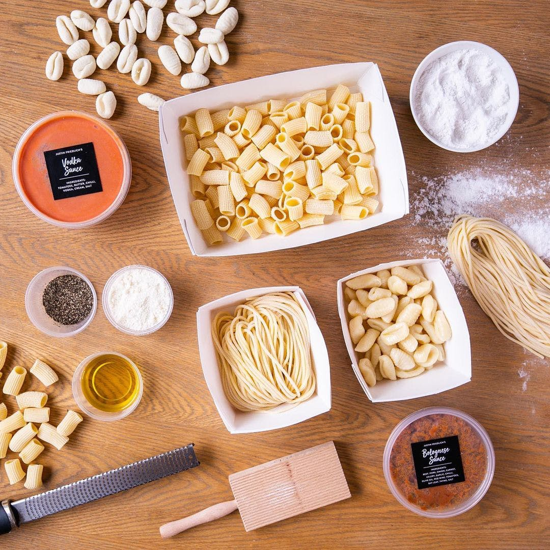 Friedlich's pasta packaged, prepped, and ready to be prepared