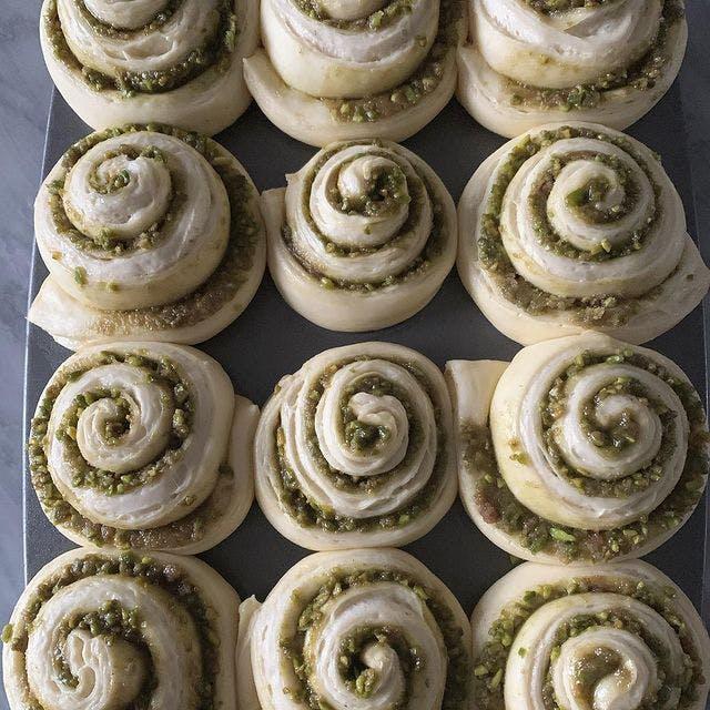 Pistachio buns from Emmer Toronto