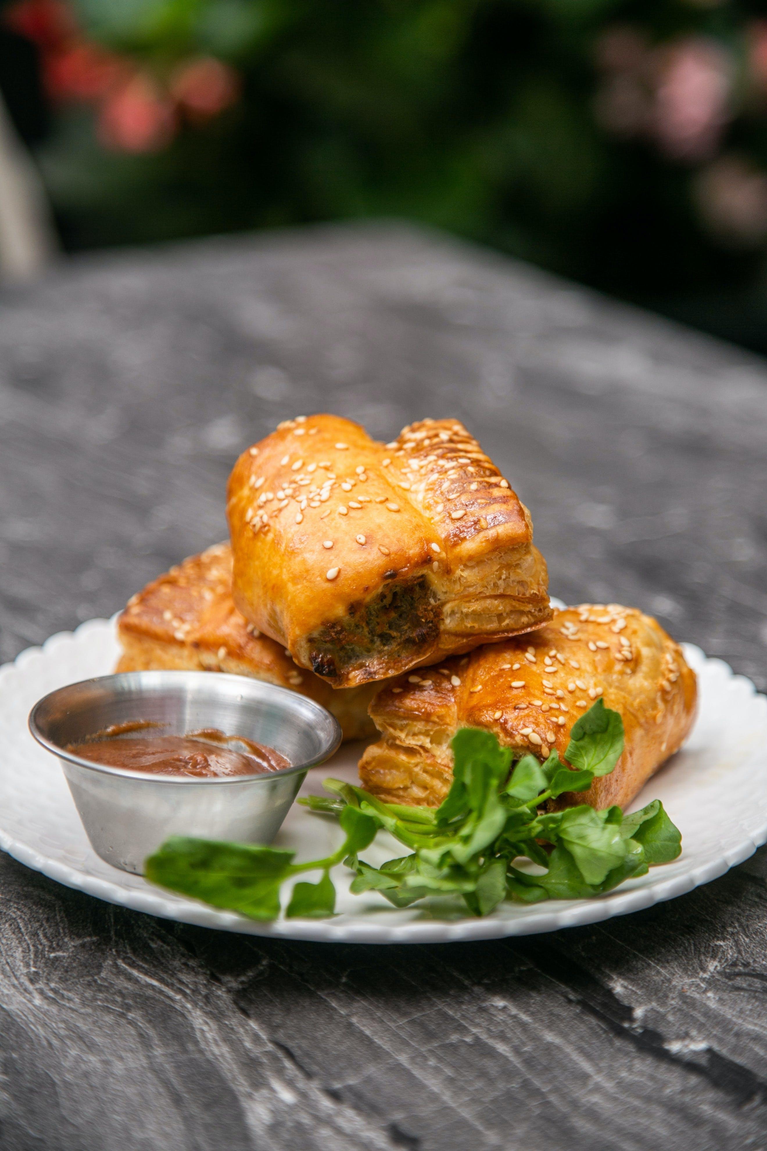 sausage rolls and Branston Pickle