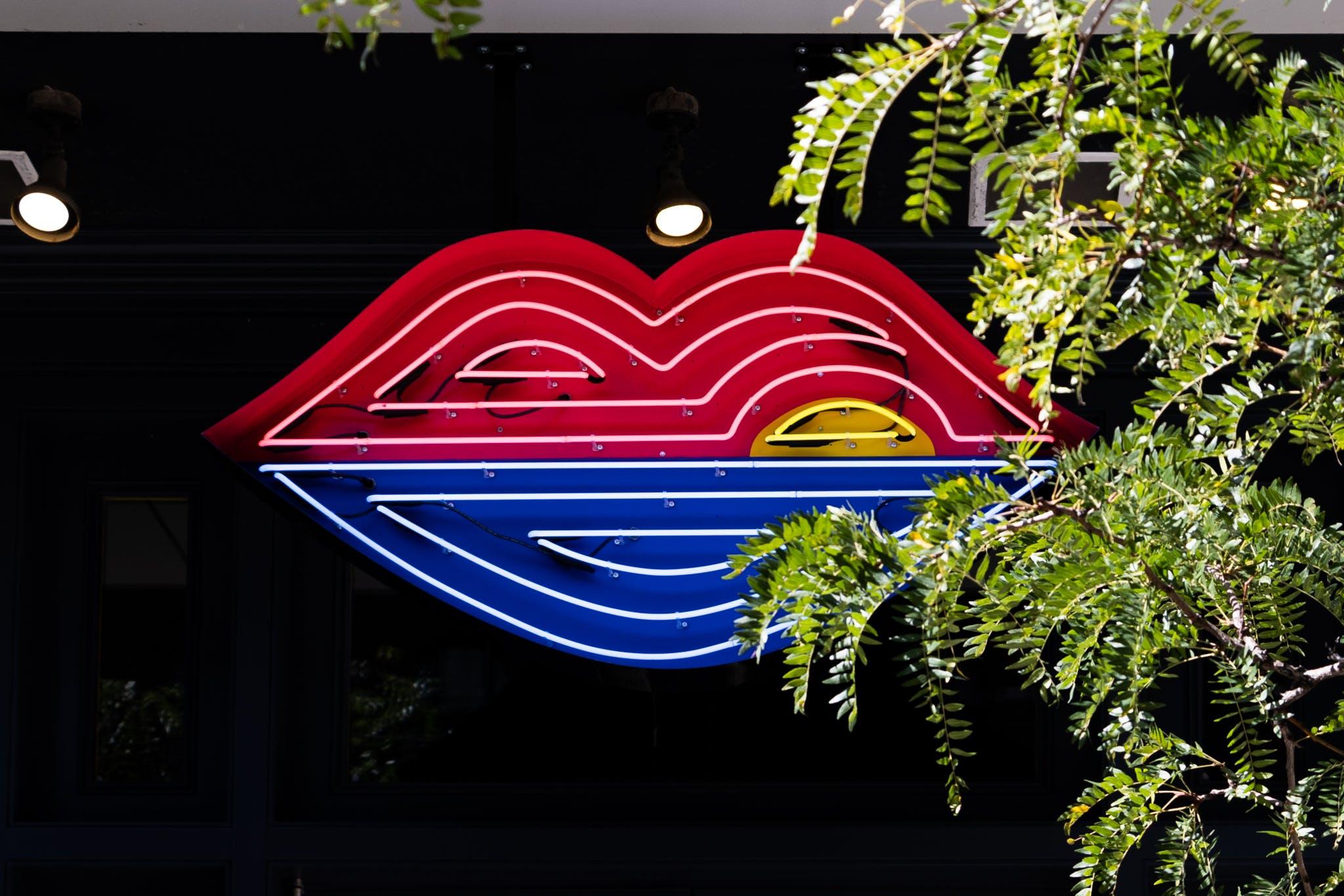 Pink Sky lips logo neon signage