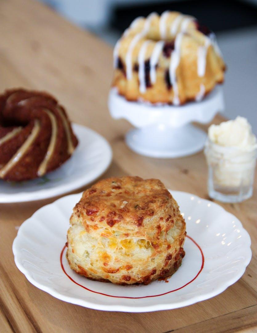 Cheddar chive scone + vanilla-honey butter