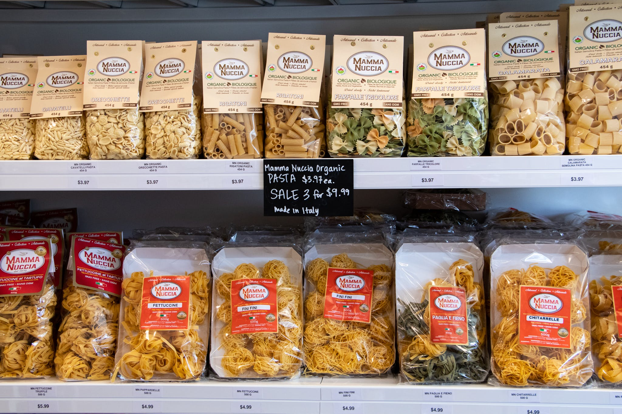 Pasta on shelves from La Spesa Food Market. Image by: @paothebao