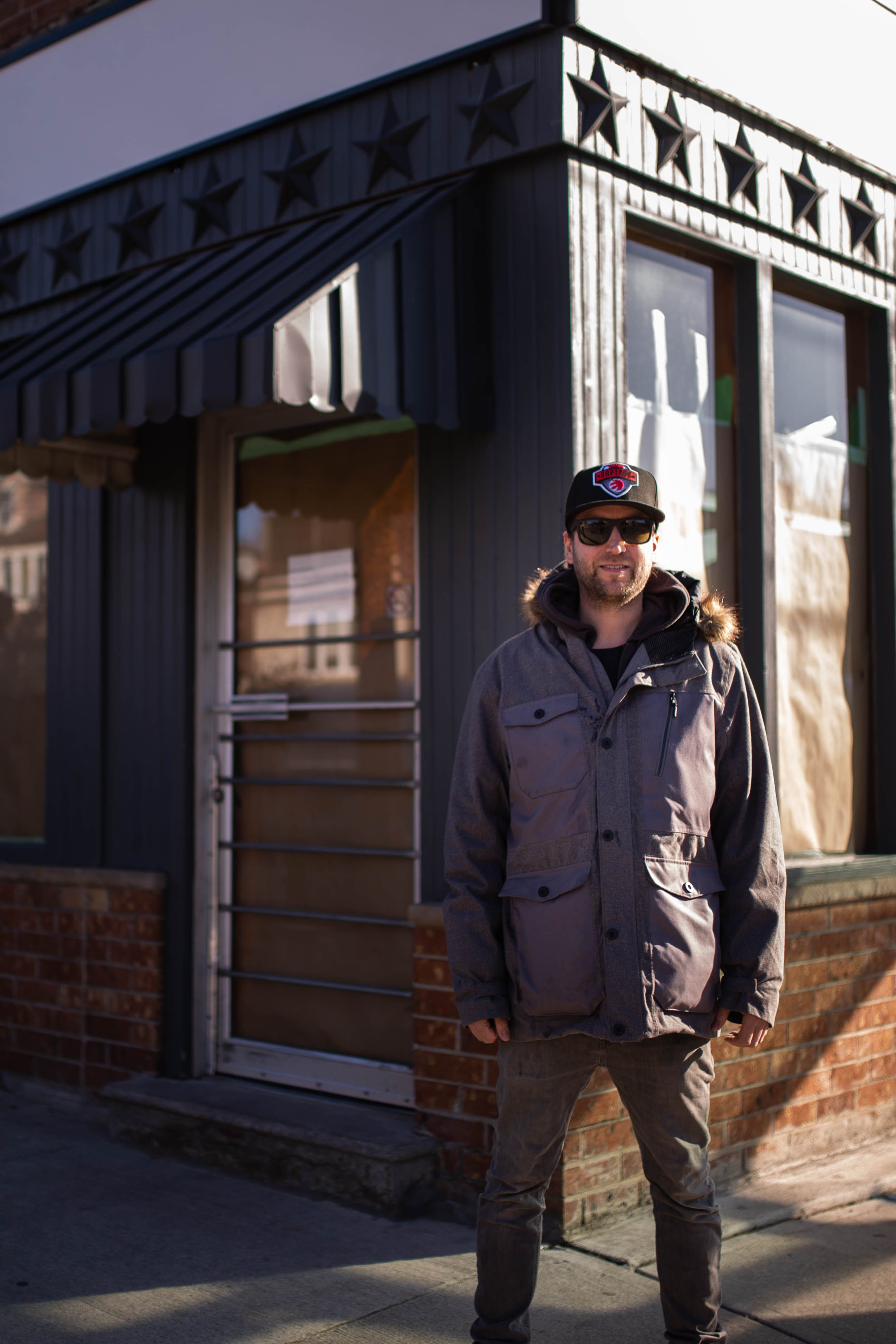 Luke Pollard, owner of One Night Only Pizza Toronto, stands out front of his new storefront in Riverdale.