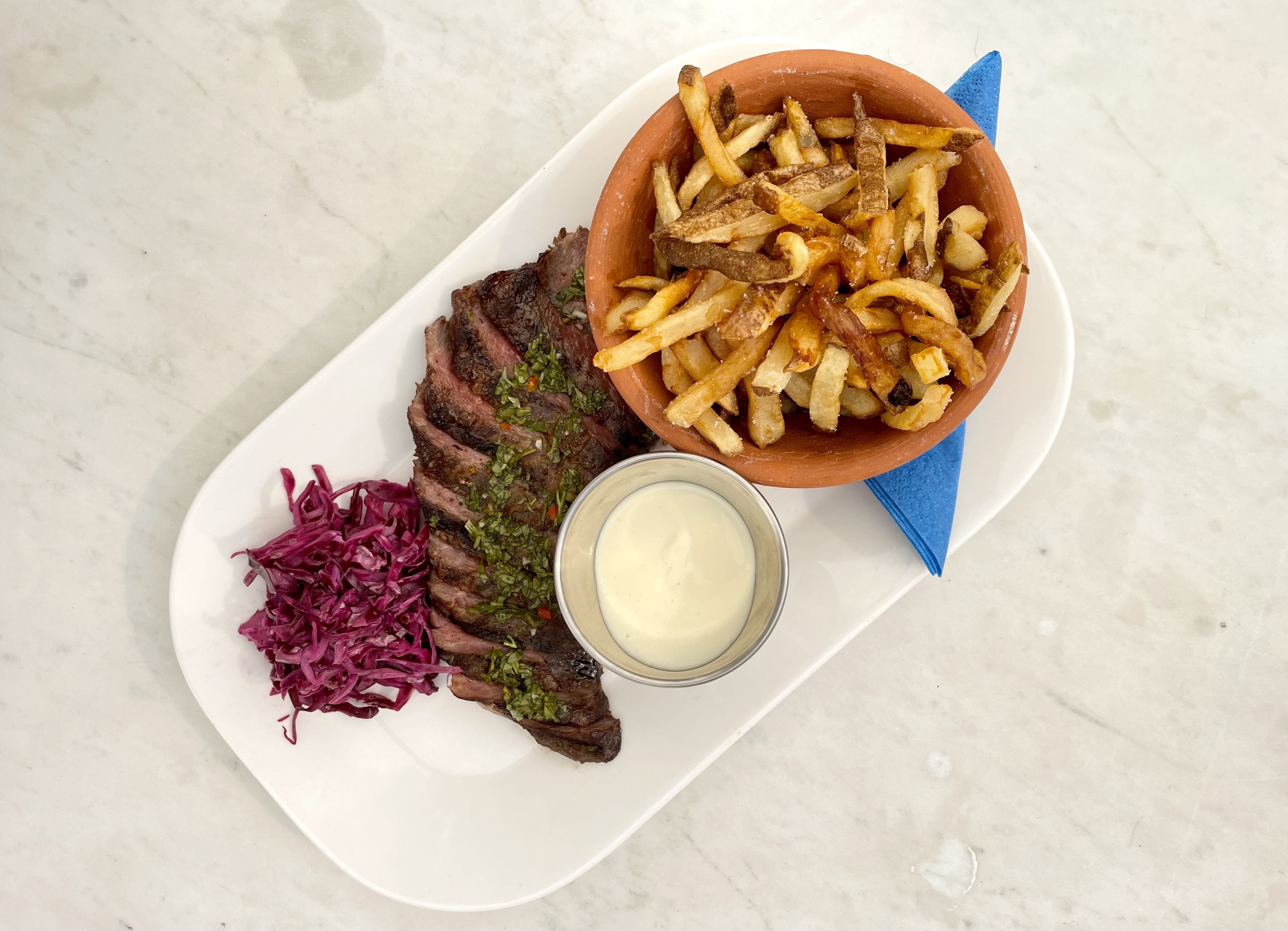 Steak Frites with red cabbage slaw