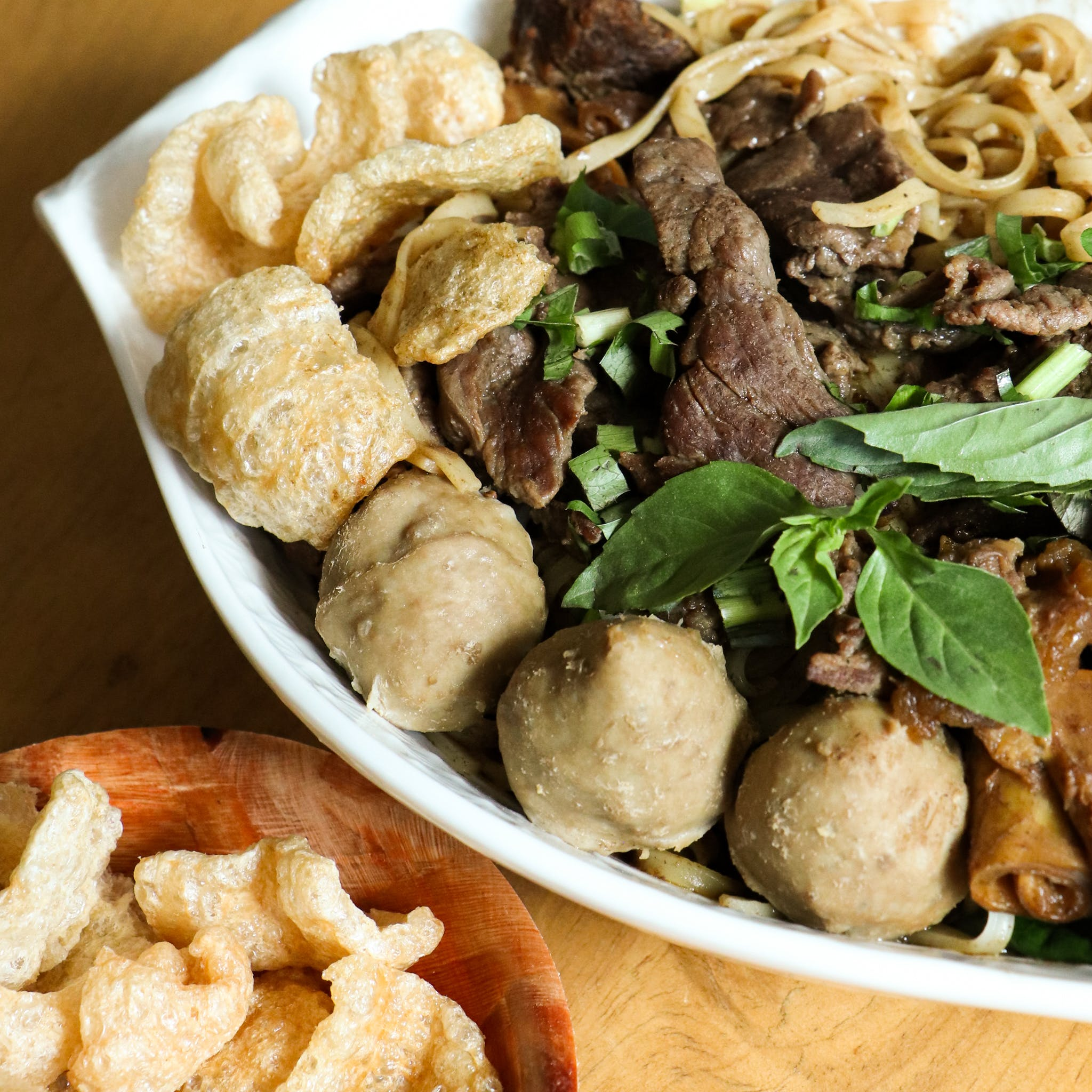 Braised beef, sliced beef and beef ball Thai boat noodle soup
