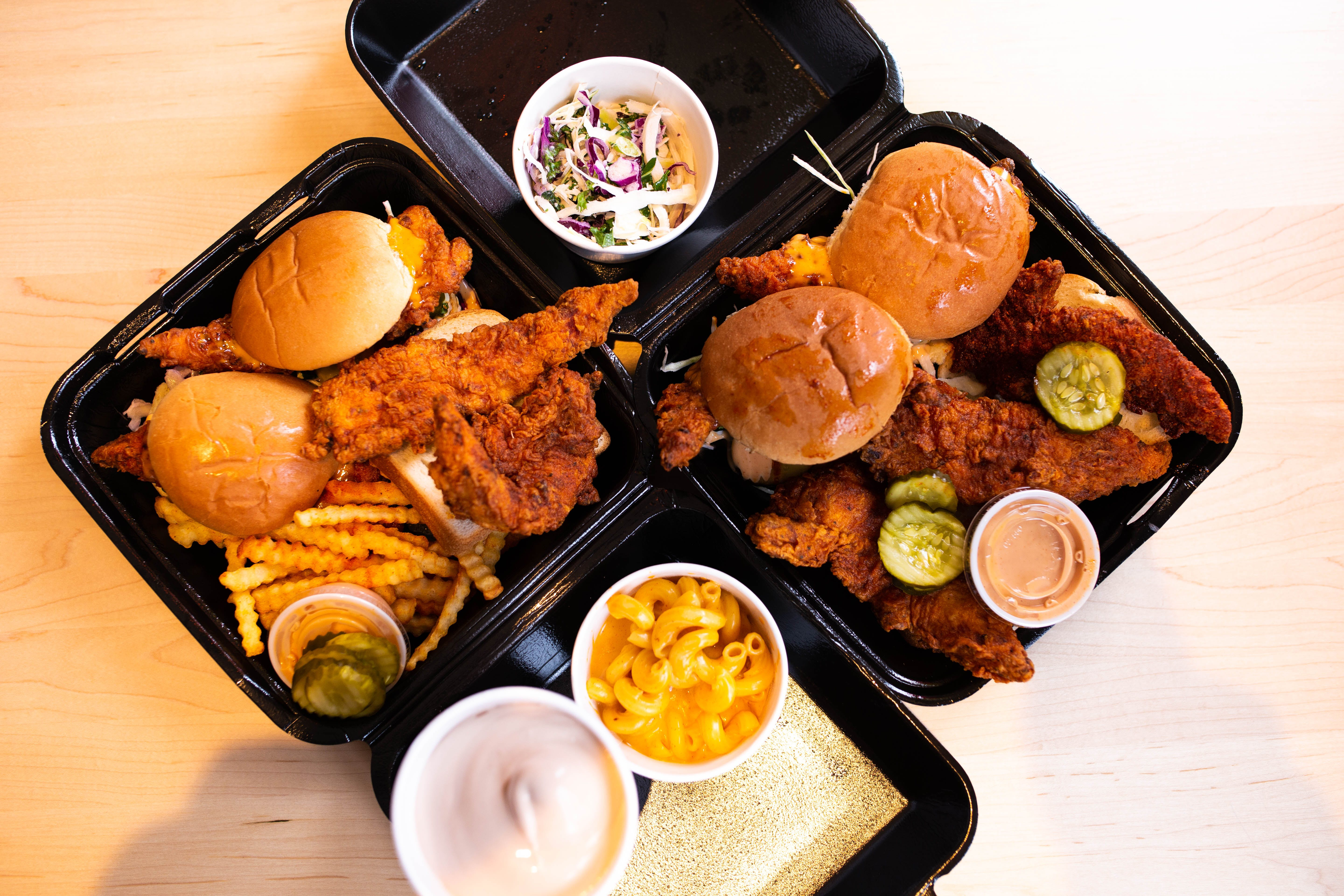 Top-down of food from Dave's Hot Chicken in Parkdale, Toronto, Canada.