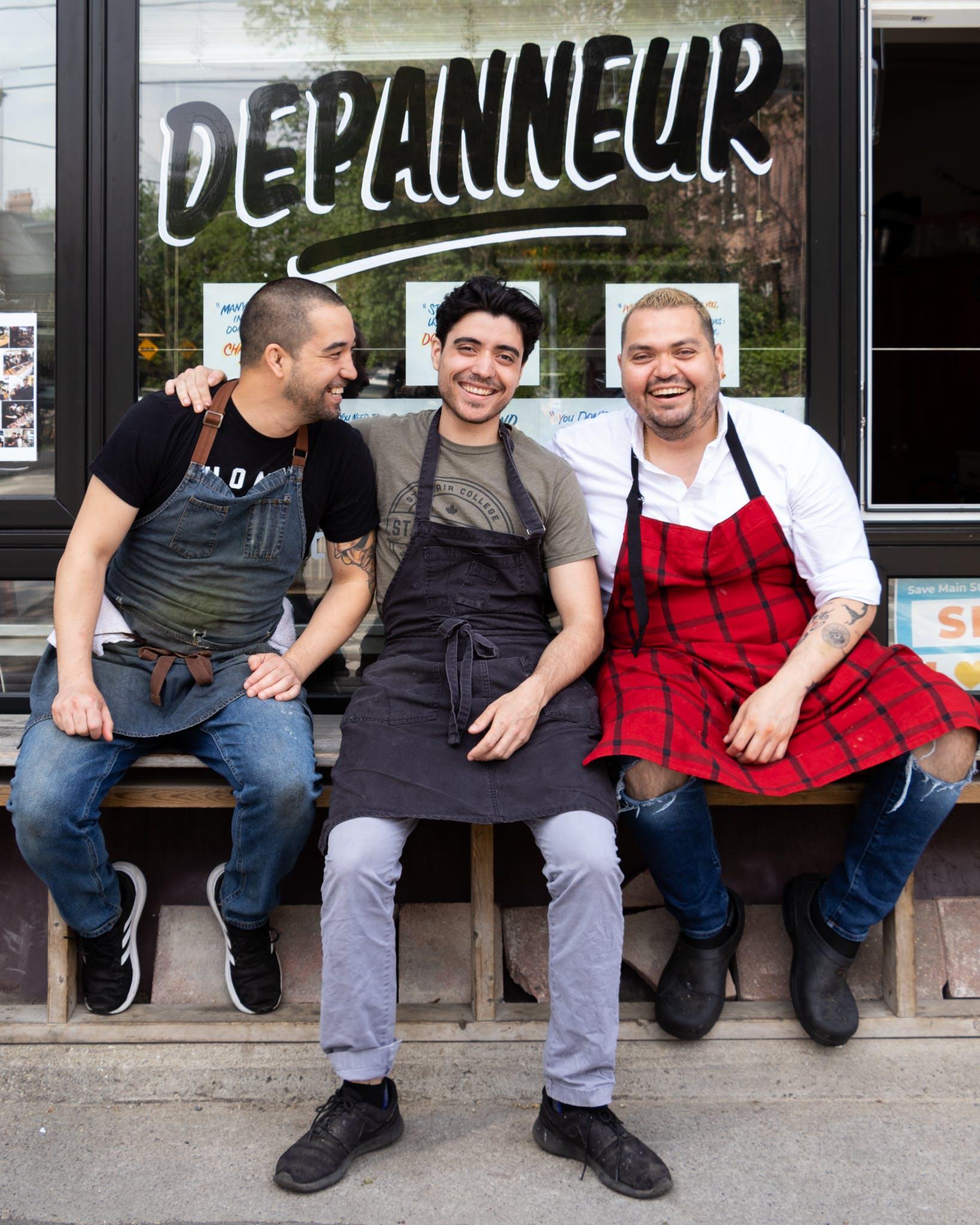 Aaron Okada, Steve Fernandes and Oskar Diaz outside The Depanneur