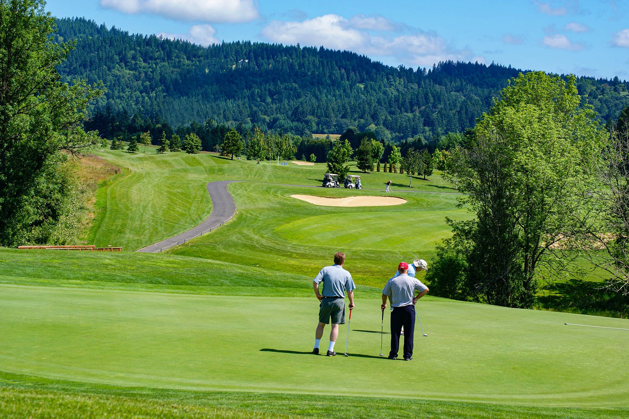 Golfing at Chehalem Glenn Golf Course