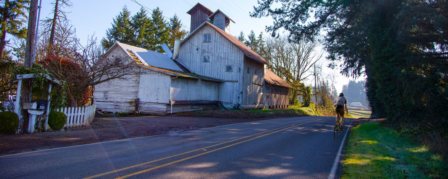 Bicyclist near Champoeg State Park - Butteville Store - Near Newberg Oregon