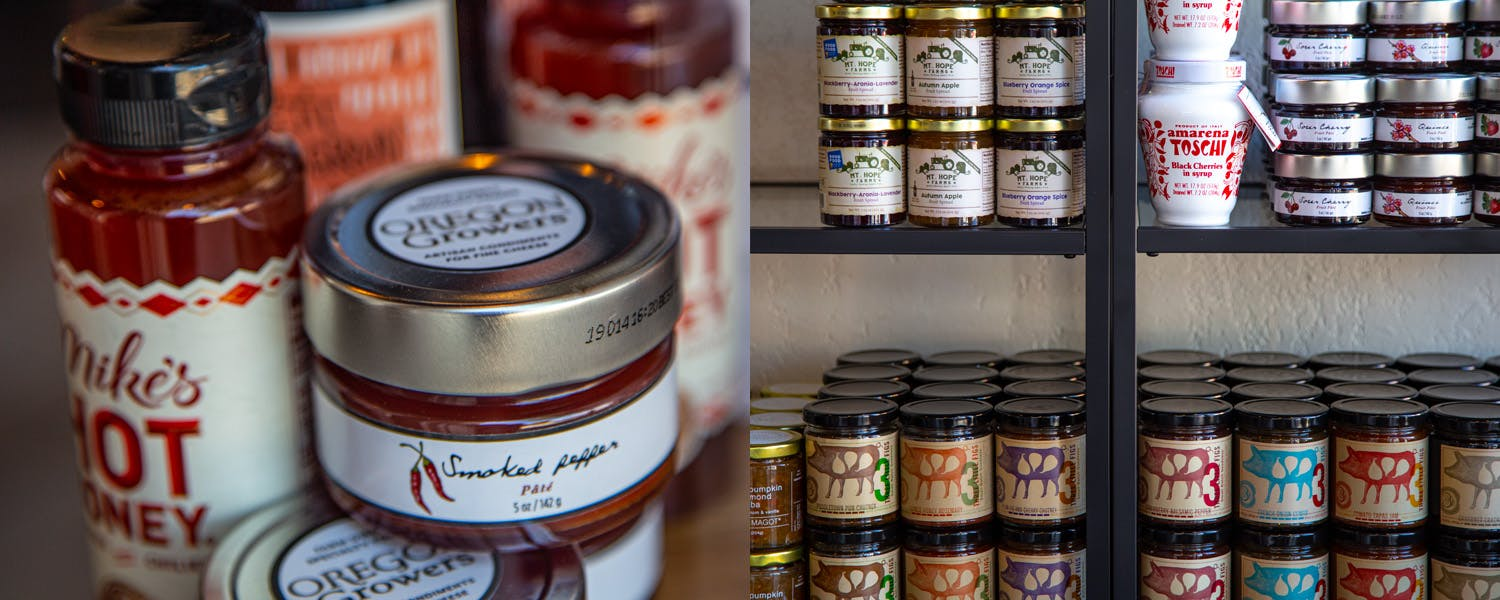Stocked shelves at Good Company Cheese Bar & Bistro in Downtown Newberg
