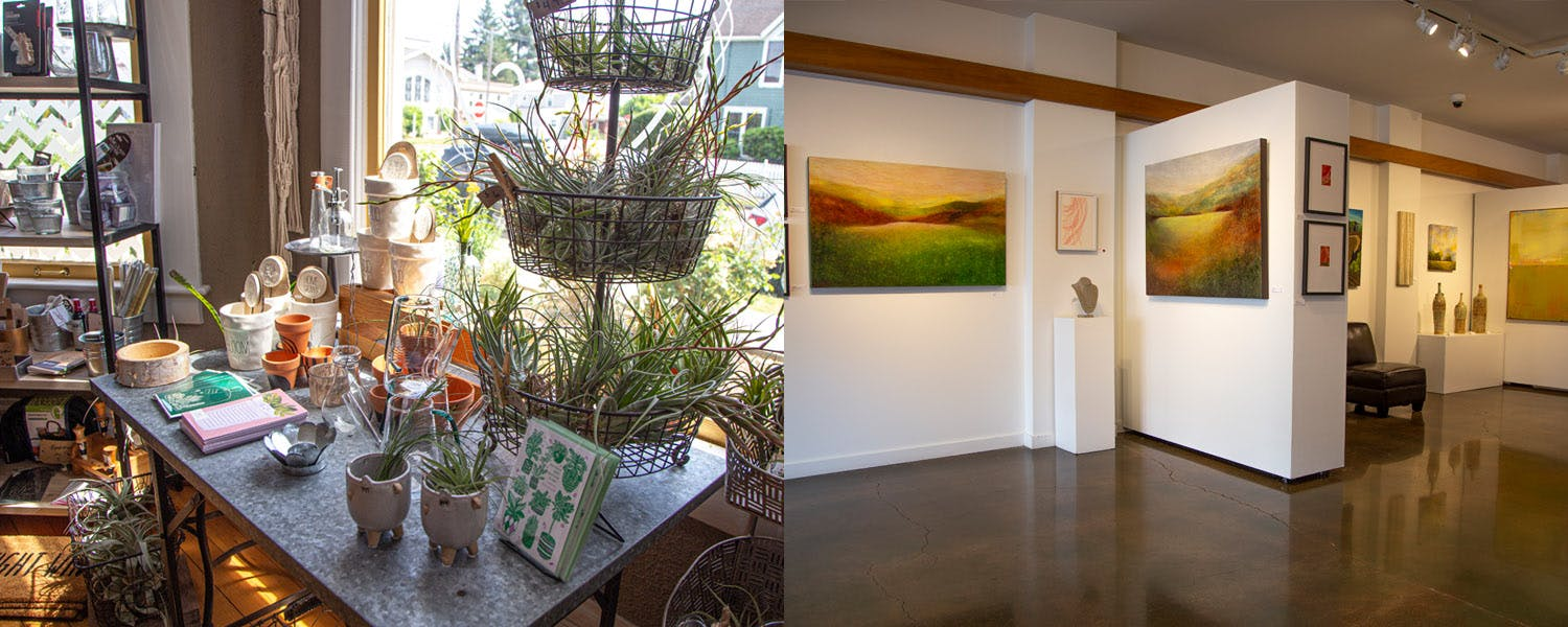 Pulp & Circumstance and Art Elements - two of the shops in Downtown Newberg