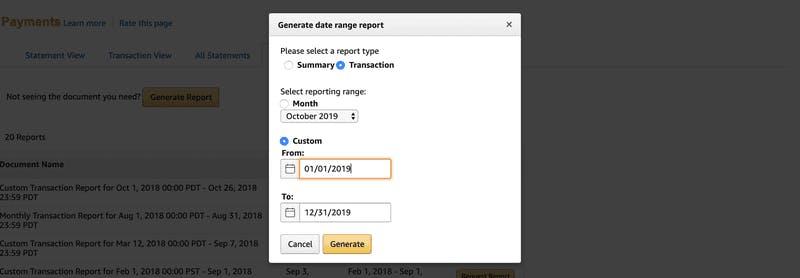 Downloading Transaction 1099 Report Amazon
