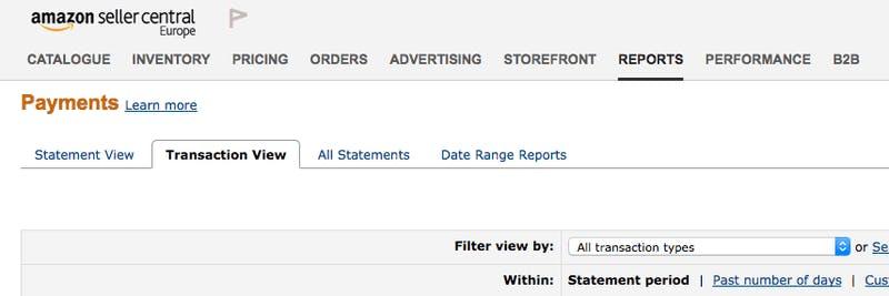 Transactions Amazon Seller Data