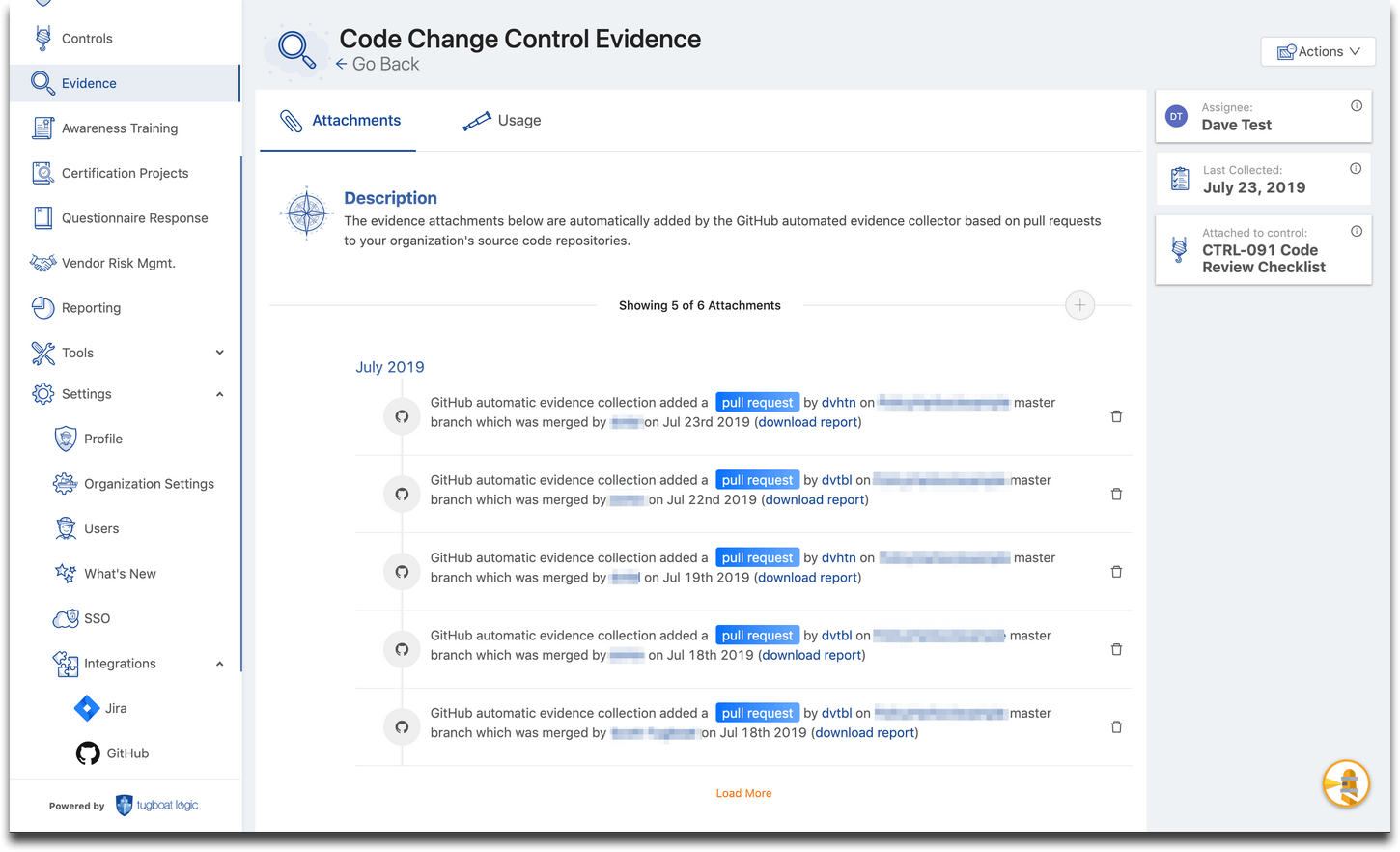Tugboat Logic Github Integration for Automated Collection of Code Change Control Evidence
