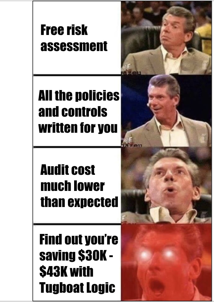 People will react like the Vince McMahon meme when they find out how much they really save on SOC 2 when using Tugboat Logic.