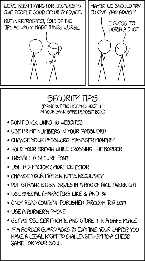 xkcd's hilarious security tips comic actually helps people remember real security tips.