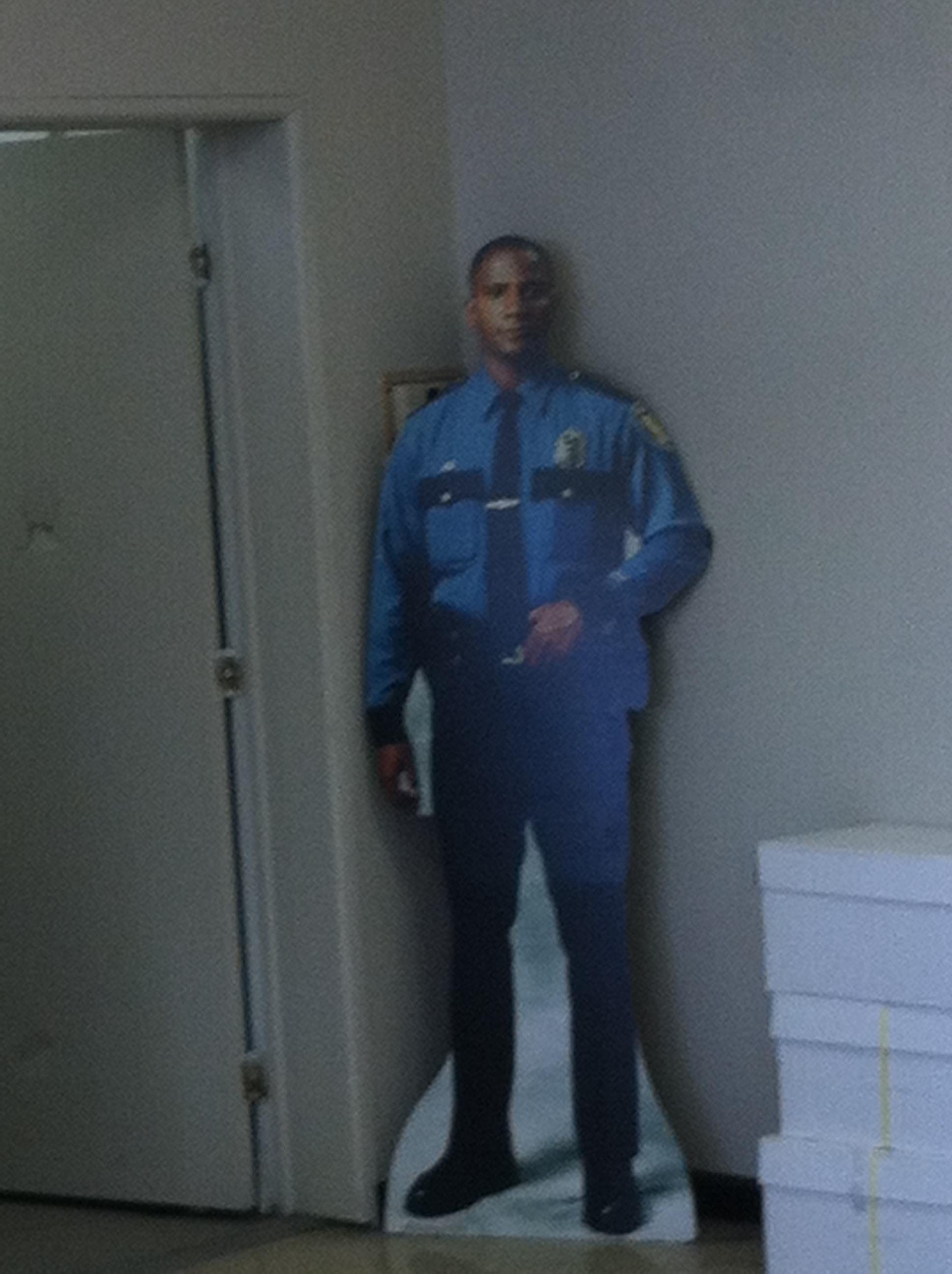 "Cardboard cut-out of a security guard illustrating Tugboat Logic's article ""9 Low-Budget Ways to Get More Secure"""