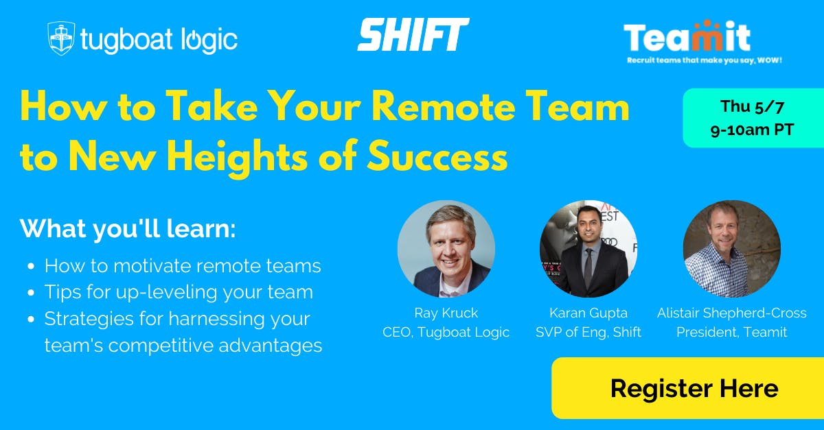 This webinar panel will teach you how to lead and motivate your remote team to new heights of success. Join execs from Tugboat Logic, Shift, and Teamit for a panel workshop.