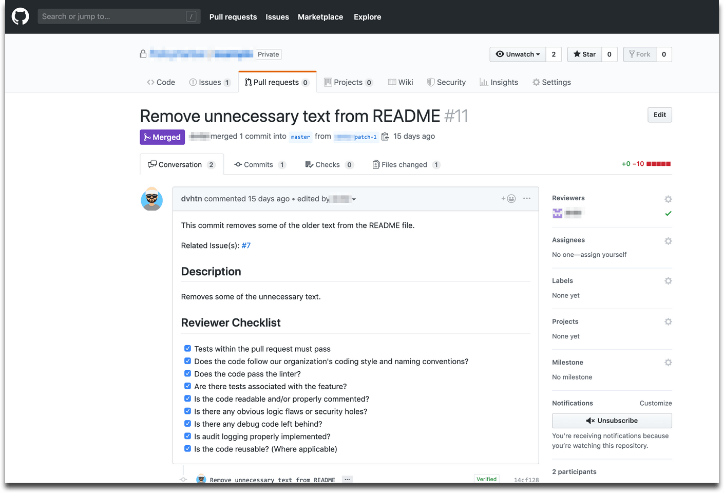 Sample Pull Request from Github