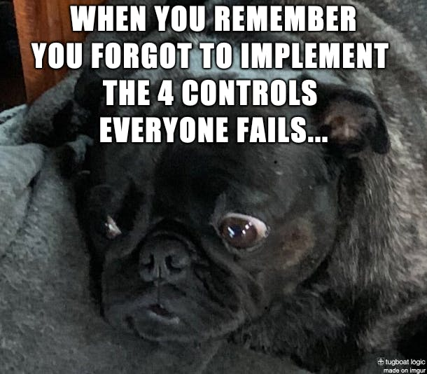 The sad derp face you make when you remember you forgot to implement the four controls everyone fails (source: Tugboat Logic)