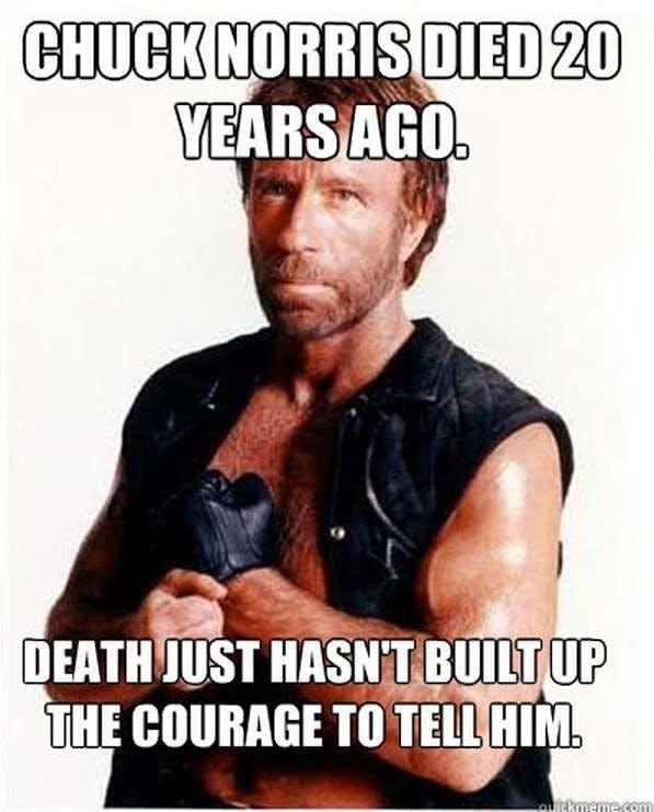 Classic Chuck Norris joke illustrating his status as a living legend whom Death is afraid of (Tugboat Logic).