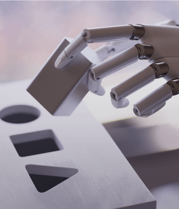 A robot completing a puzzle