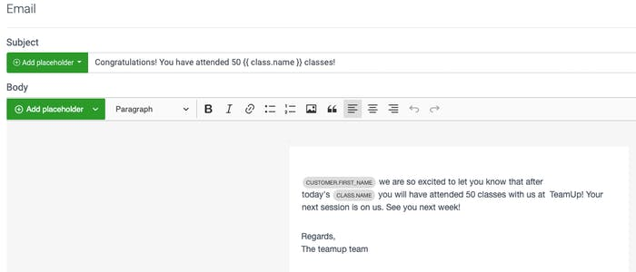 image of the email templates for milestones