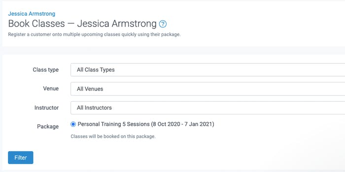 image of the block booking class tool