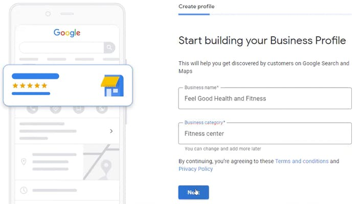 Page one of building your profile on Google My Business