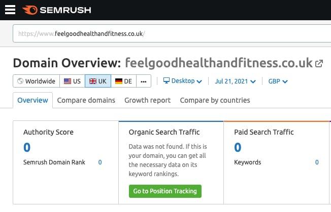 The domain overview of Feel Good Health & Fitness on SEMrush