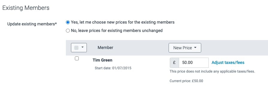 Existing member price changes in TeamUp