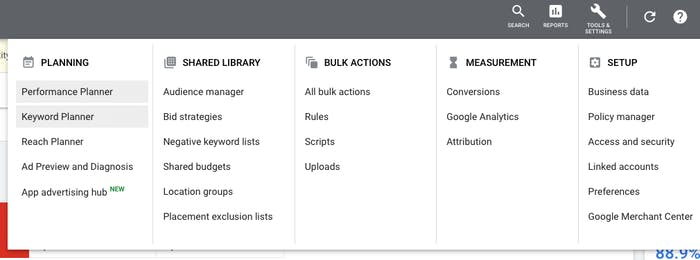 Finding Keyword Planner on Google Ads