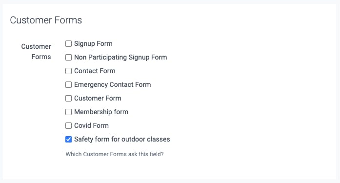 settings for the customer forms