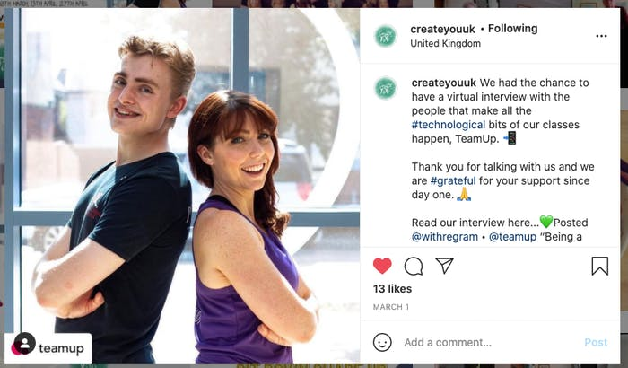 instagram testimonial shared by create you uk