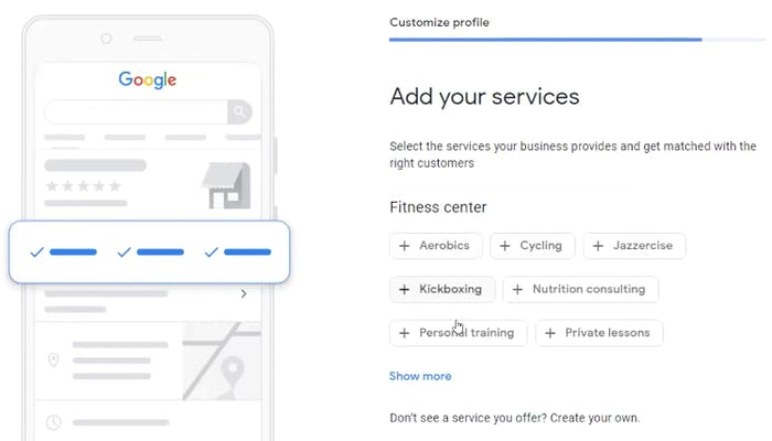 Select the services you offer for your potential clients to see