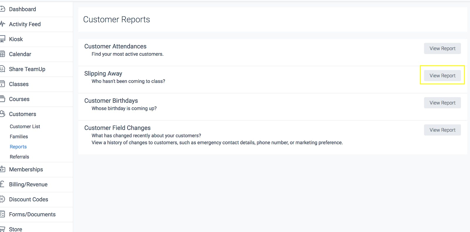 "Image shows screenshot of Report option. ""Show Report"" is highlighted next to ""Who hasn't been coming to class."""