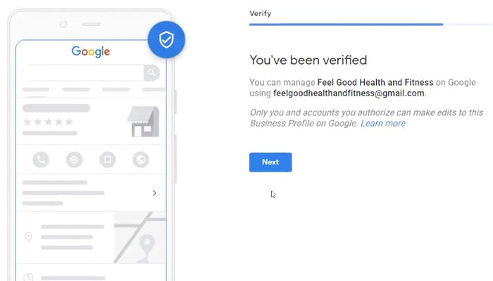 Confirmation that your business is verified on Google My Business