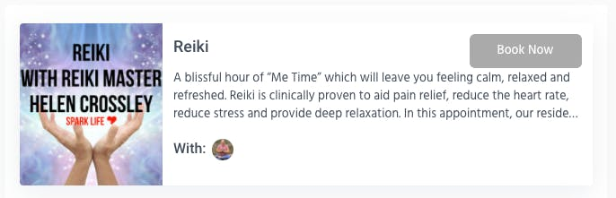 Booking an appointment for a Reiki session with Spark Life