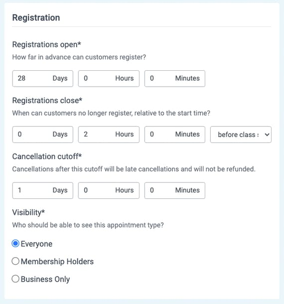 registrations in appointments