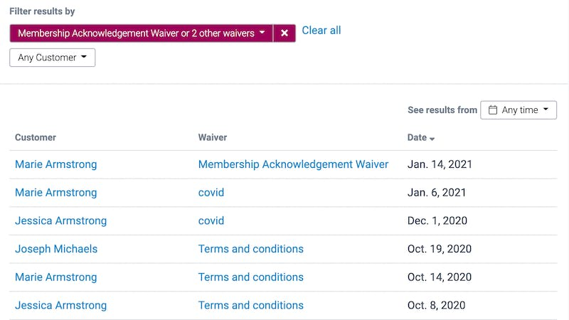 image of the full waivers report with multiple filters