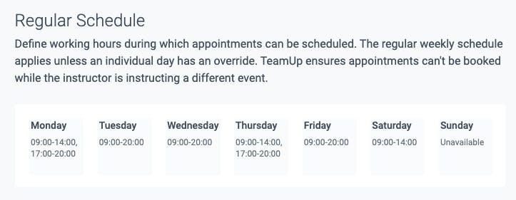 the regular schedule in teamup