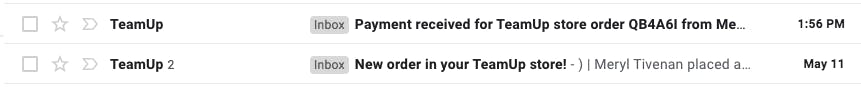 image of email order and payment confirmation