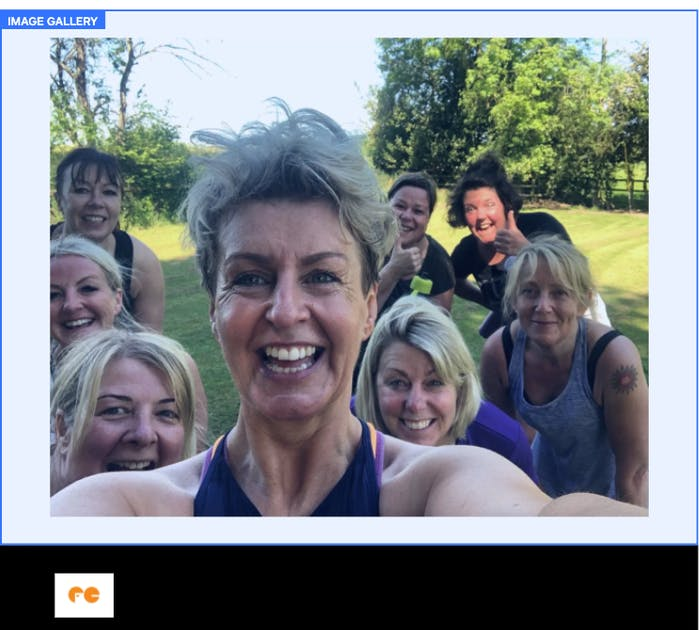 A photo of Clare with some members after a class