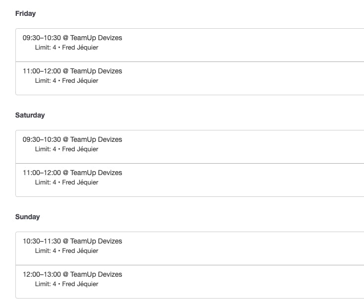 The class schedule in the TeamUp dashboard
