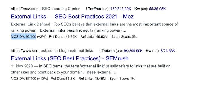 An external link on Google with a high DA identified by Moz